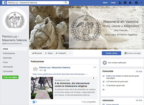 Facebook Triángulo masónico Palmrira Luz de Valencia